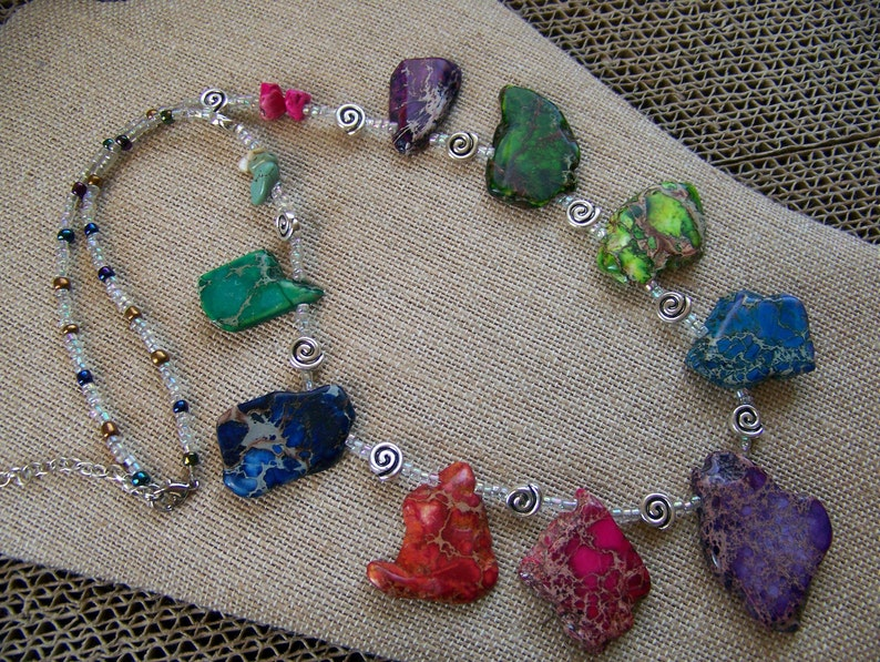Rainbow Necklace  Natural Stone Necklace  Beaded Jewelry  image 0