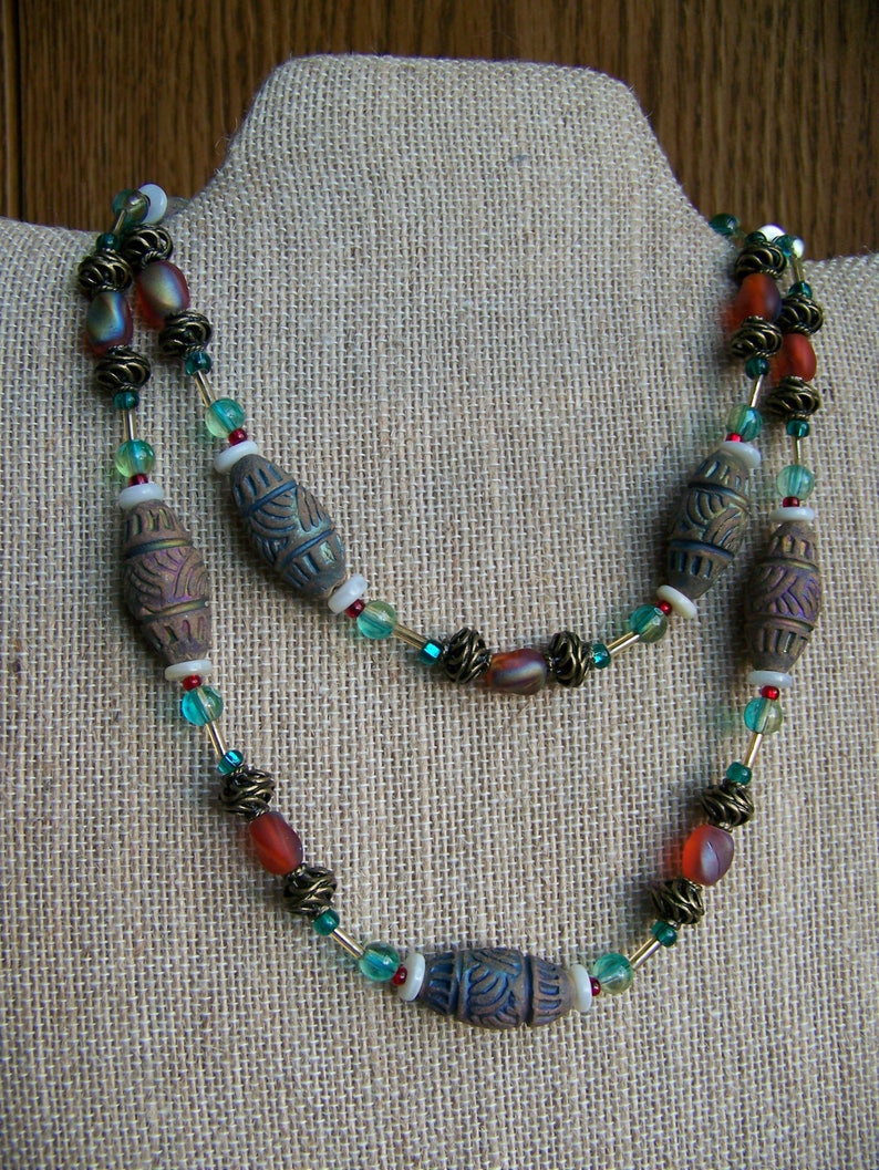 Blue and Red Necklace  Tribal Necklace  Primitive Jewelry  image 0