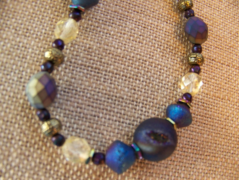 Purple Stone Necklace  Natural Stone Necklace  Blue and Gold image 0