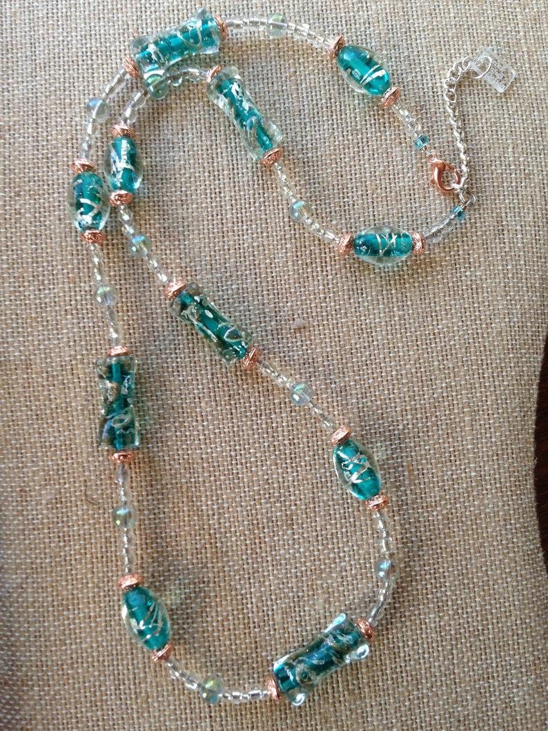 Bluegreen Silver Rose Gold Glass Lampwork Necklace  Dressy image 0