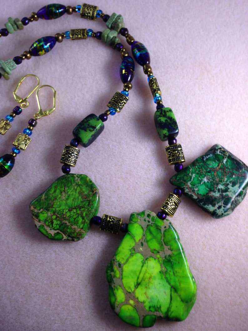 Natural Stone Necklace Set Green and Gold  Rustic Green image 0