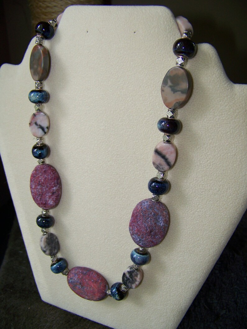 Natural Stone Necklace  Chunky Beaded Necklace  Gift for Her image 0