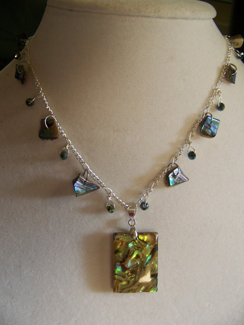 Abalone Pendant Necklace Charms  Mother of Pearl Jewelry  image 0