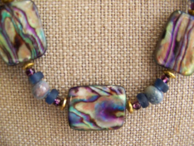 Mother of Pearl Rectangle Necklace Set  Purple Jewelry  image 0