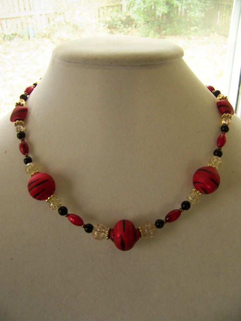 Red Chunky Necklace  Geometric Jewelry Scarlet  Red and image 1