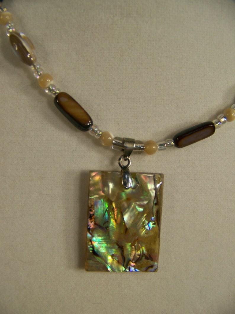 Pendant Necklace Abalone Beach Jewelry Shell  Beaded image 0
