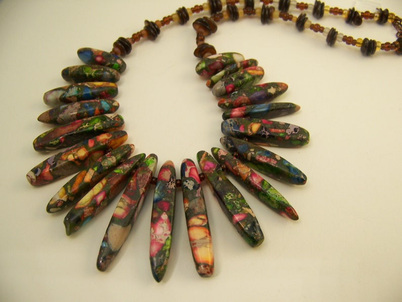 Stone Composite Bib Necklace  Colorful Beaded Jewelry  image 0