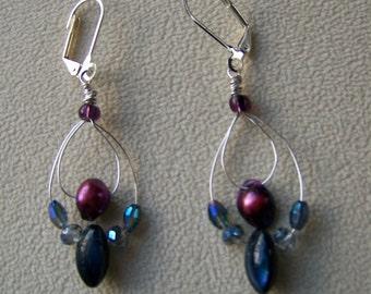 Beaded drop earrings,freshwater pearl earrings,abalone earrings,iridescent jewelry,crystal earrings,silver dangle earrings,#79