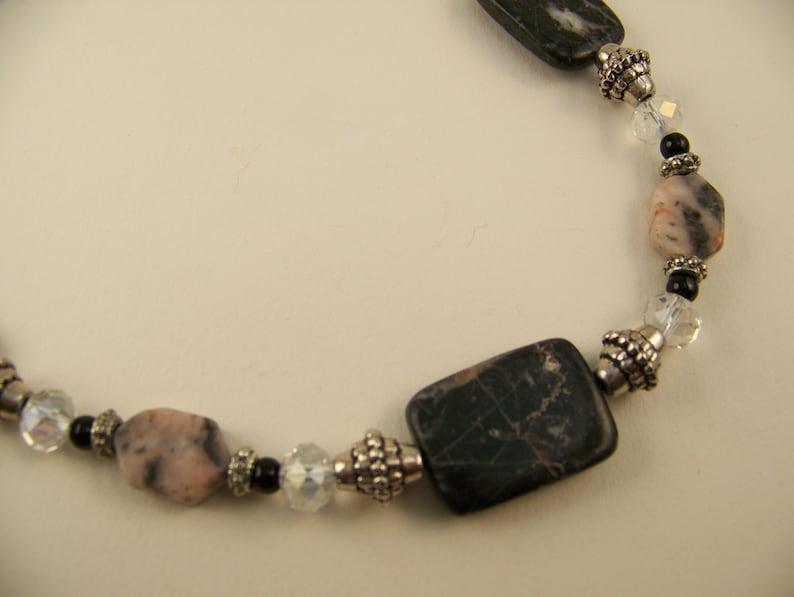 Stone Necklace Black and Beige  Jewelry Dressy Gunmetal  image 0