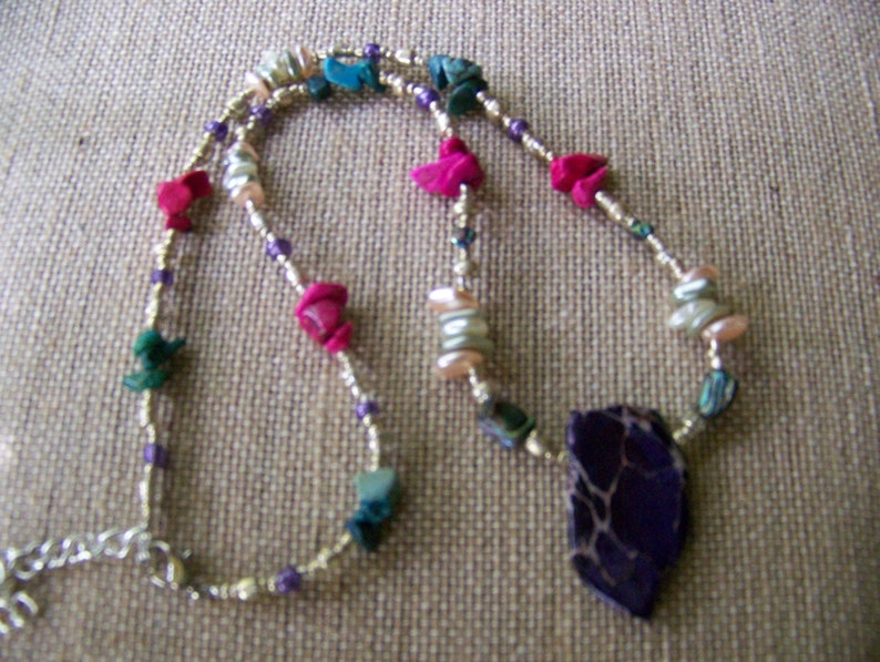 Natural Stone Pendant Necklace Purple  Tribal Necklace image 0