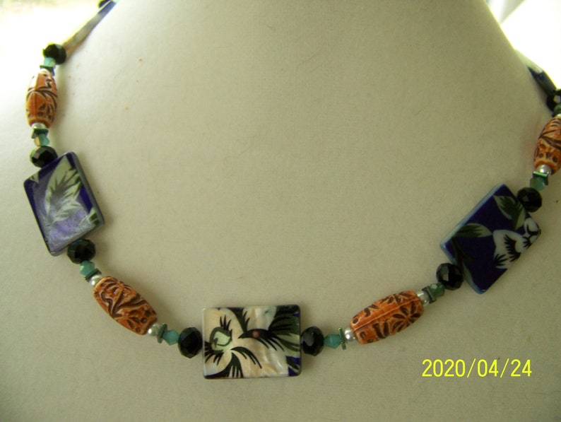 Floral Jewelry Purple and White  Shell Necklace Purple and image 0