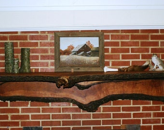 Rustic bark edge Cherry Mantle