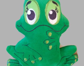 ith embroidery design frog green frog softie stuffie