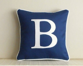 Navy monogram pillow, blue pillow, personalized pillow, Blue initial pillow, pillow with letter, wedding gift, personalized pillow case