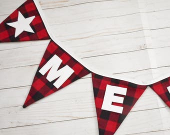 Christmas Banner, Red and Black Buffalo Plaid, White Letters, Merry Christmas, Winter decoration, Cabin Decor , Rustic Xmas Decoration