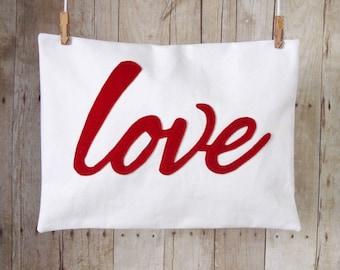 Love Pillow Cover, Pillow Case, Felt applique