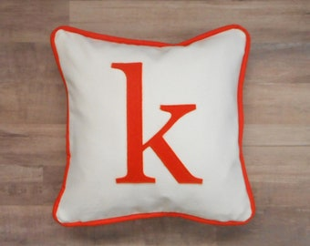 small letter pillow cover, lower case initial, personalized custom monogram pillow case