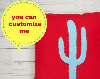 Custom Cactus Pillow Cover, Applique, Desert Decor, Decorative throw pillow, Cactus bedding, Cactus Decor for Nursery, Pillowcase