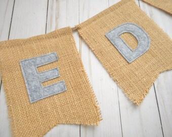 Burlap letters   Etsy