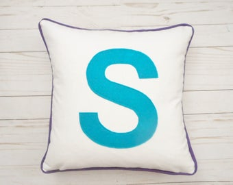 Big Block Letter Pillow Cover, Initial Pillow, Monogram, Custom Colors, Pillow with Piping, Birthday Gift, Wedding Gift, Capital Letter Blue