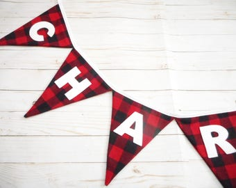 Plaid Name Banner, Red and Black Buffalo Plaid with White Letters, Lumberjack Party, Birthday Party, Name Sign