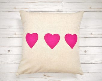 Heart Pillow Cover, Pillowcase, home decor, love pillow case, Decorative Throw Pillow, Anniversary or Wedding Gift, For Her