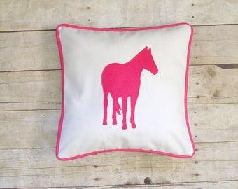 Horse Pillow cover, Equestrian pillow, horse lover gift, horse applique, decorative throw pillow