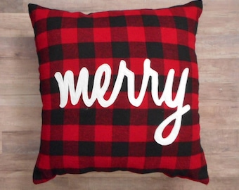 Merry, Christmas Pillow, Red and Black Plaid, Holiday Decor