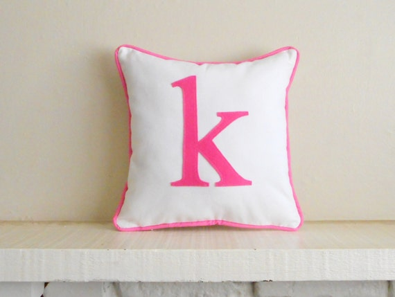 Small Initial Pillow Cover Custom Colors Monogram Cushion Etsy Impressive Initial Pillow Covers