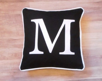 Black monogram pillow, black pillow, personalized pillow, black initial pillow, pillow with letter, wedding gift, personalized pillow case