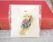 Vintage Rucinni Enamel Parrot Bird Brooch with Swarovski Crystals Shiny Gold Plated Metal Pin with Bling Rhinestones 2 Inches