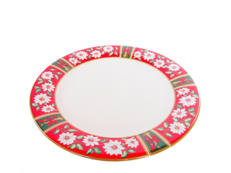 Large Christmas Serving Platter in Red and Green Poinsettia by Charlton Hall
