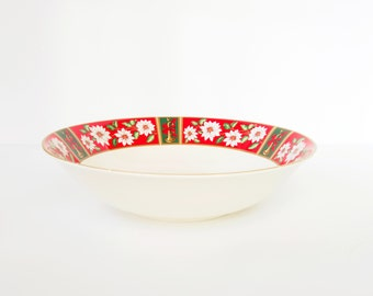 Vintage Christmas Holiday Large Bowl Charlton Hall, Round Soup Salad Fruit Vegetable Serving Bowl, Fine Porcelain China Dinnerware Red Holly