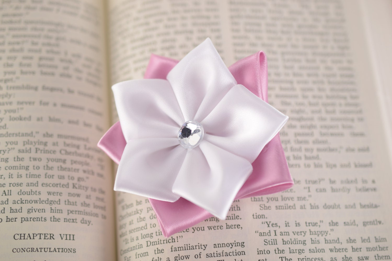 Handmade Ribbon Japanese Kanzashi Flower Pink White Flower Etsy
