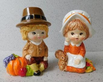 Pair of Vintage Pilgrim Figurines, RB Made in Japan, Thanksgiving Decoration, Fall, Autumn Decor, Pilgrim Kids
