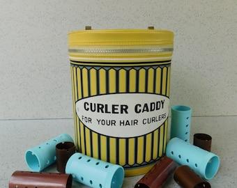 Vintage Curler Caddy, Curler Storage, Curler or Roller Case, Carry Case, Hair Care Storage, Beauty Salon, Hairdresser, Hair Stylist, Decor