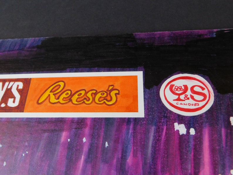 Witch on Broom Free Ship Reese/'s Y/&S Candy Advertisement OOAK Original Hand Drawn Advertising Artwork for Hershey/'s Halloween Print Ad