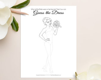 guess the dress bridal shower game printable bridal shower game unique bridal shower game wedding shower game instant download