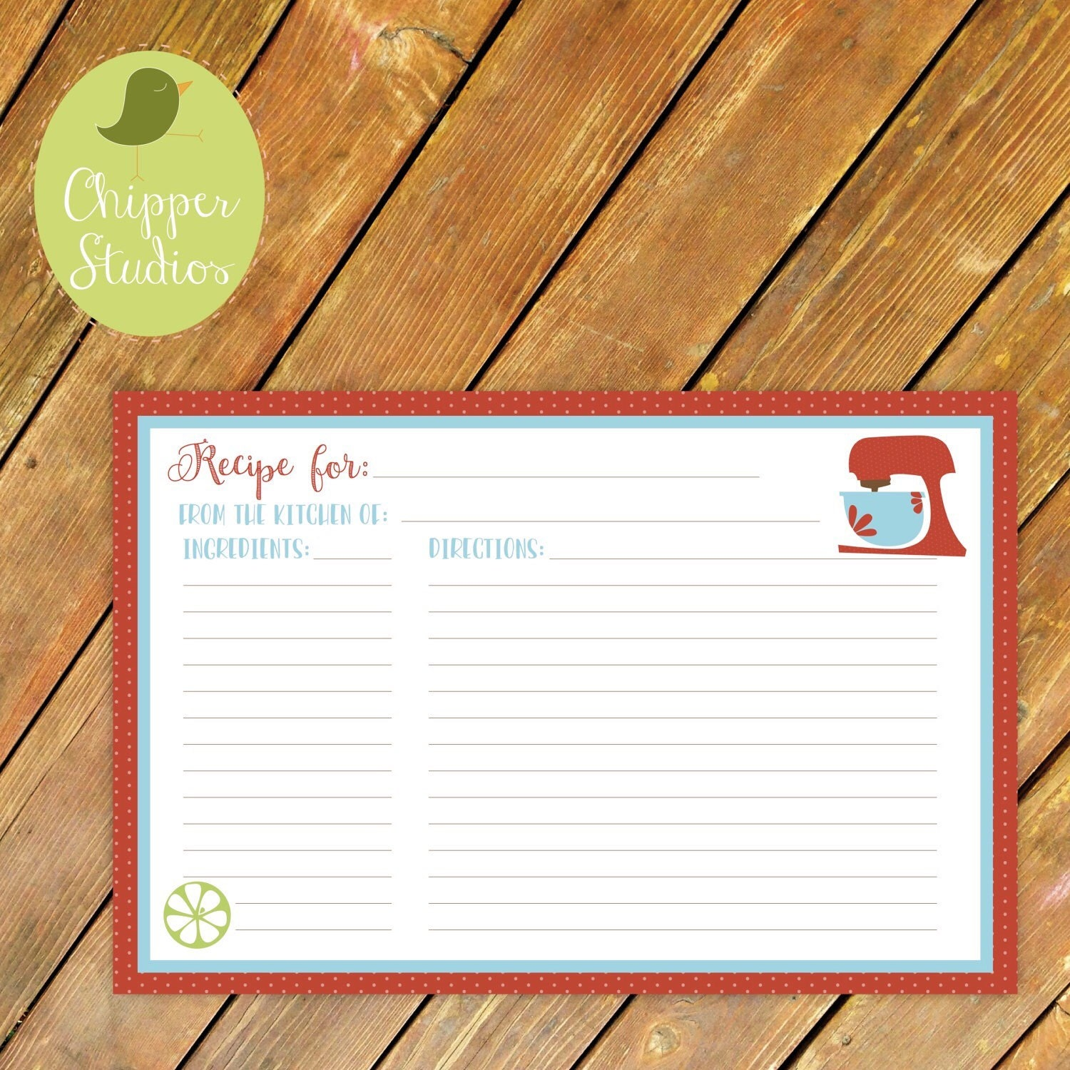 Instant Download Vintage Inspired Recipe Card Recipe Card