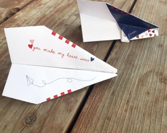 Instant Download- DIY Valentine Paper Airplane. Paper Planes. Kids Valentines Cards. Anniversary Card. Valentines Day Cards. Printable Card.