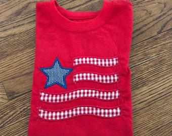 Patriotic| American Flag applique shirt