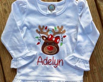Christmas girly reindeer applique shirt