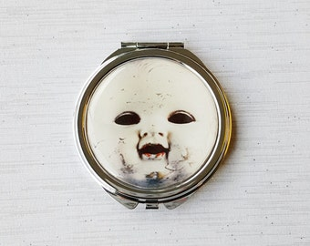 Creepy Doll Mirror Gothic Macabre Compact Make Up Gift