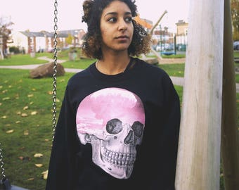 Pastel Goth Sweater Skull Sweater Pink Skull Atomic Cloud Soft Goth Soft Grunge Goth Clothing Oversized Sweater