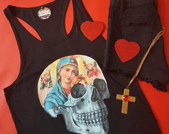 Virgin Mary Racerback Tank Top Black Goth Dress Skull Dress Skull Tank Top Rockabilly Goth Girl Womens Tank Top Lady of Guadalupe