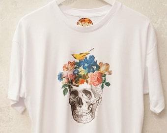 Skull Flowers Birds Tshirt Graphic Tshirt Pastel Grunge Gothic Clothing
