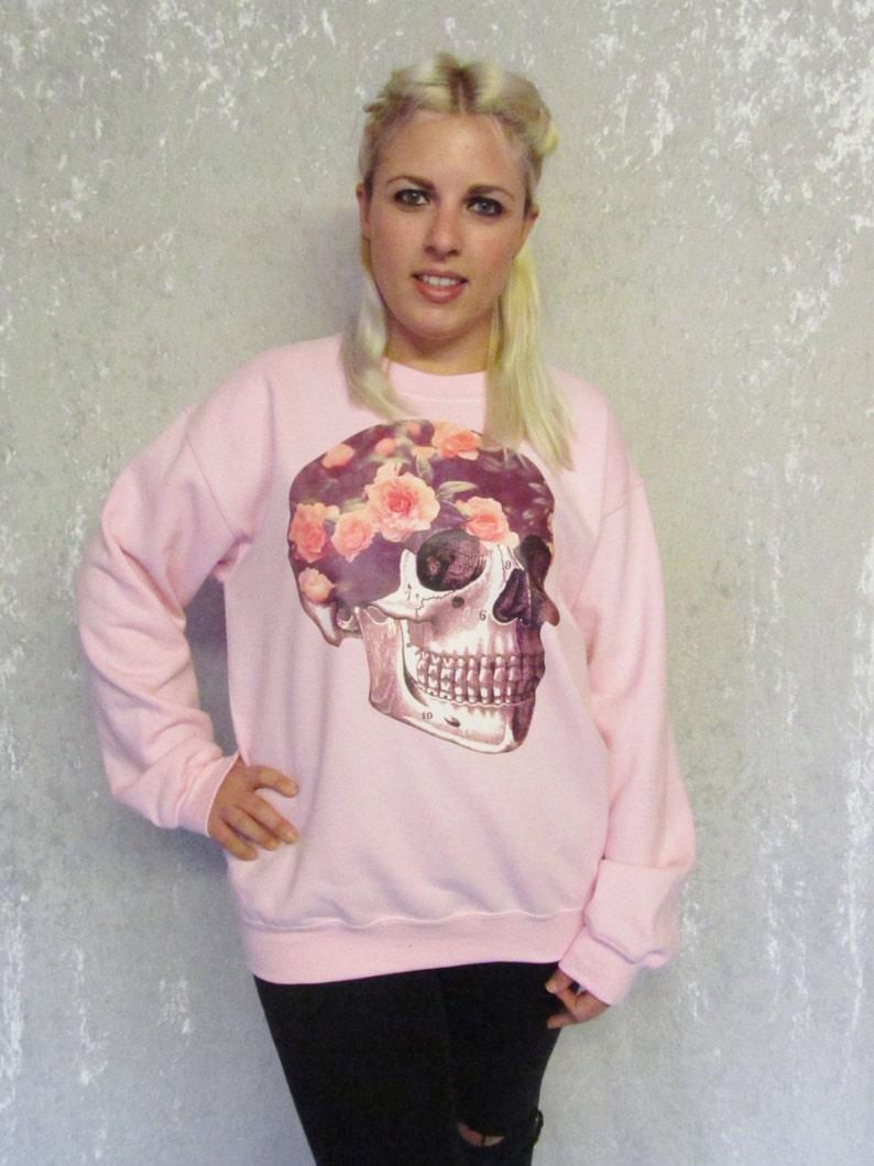 759400f0a Floral Skull Sweater Sweet Roses HeadSpace Soft Grunge Pastel