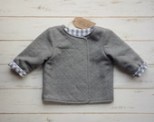 Girls Grey Jacket Check Lining Quilted Cotton