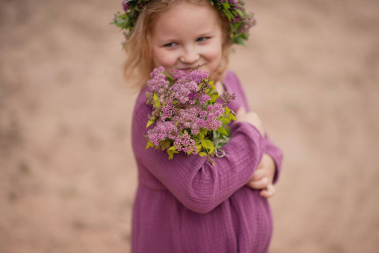 5ba801225291ad Dziewczyn muślinu długi rękaw sukienka Cotton Blueberry | Etsy
