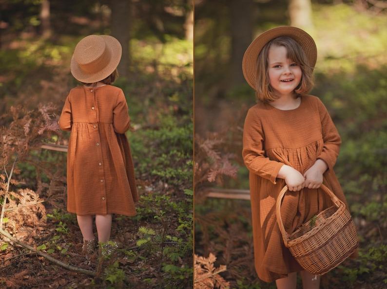 Victorian Kids Costumes & Shoes- Girls, Boys, Baby, Toddler Girls Muslin Long Sleeve Dress Cotton Caramel $40.44 AT vintagedancer.com